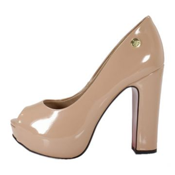 Peep Toe Week shoes Salto Grosso Verniz Nude Week shoes