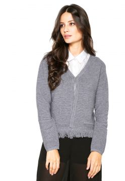 Cardigan Facinelli by MOONCITY Franjas Cinza Facinelli by M