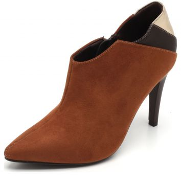 Ankle Boot Thelure Recortes Caramelo/Dourada Thelure