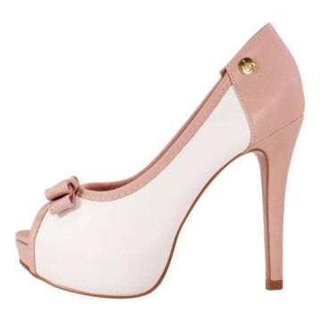 Peep Toe Week Shoes Salto Alto Com Laço Branco Rosê Week sh