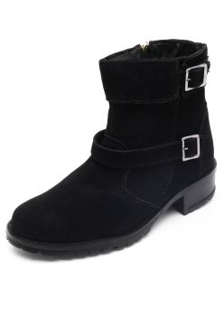 Bota Biker DAFITI SHOES Fivelas Preta DAFITI SHOES