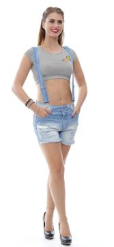 Short Jeans Sawary Boyfriend Destroyed Suspensório Azul Sa