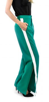 Calça Mag Deluxe Social Listra Lateral Verde Mag Deluxe