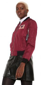 Jaqueta Bomber Facinelli by MOONCITY Patche Vinho Facinelli