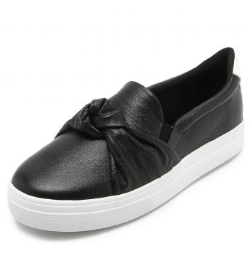 Slip On Couro Dumond Nó Preto Dumond