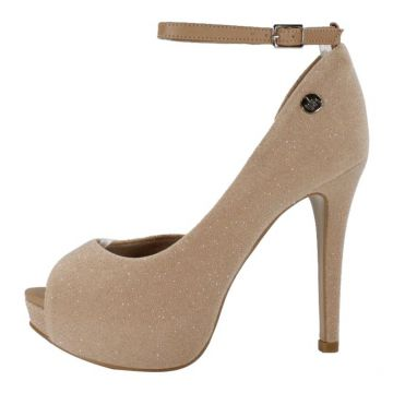 Peep Toe Week shoes Meia-Pata Nude Strass Com Corte Lateral