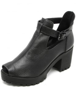 Open Boot Couro Via Mia Cut Out Preto Via Mia