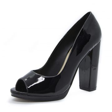 Peep Toe Shoes inbox Basic Salto Bloco Verniz Preto Shoes i