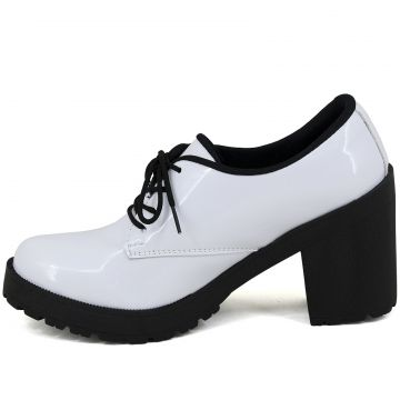 Oxford Magi Shoes Salto Alto Verniz Branco Magi Shoes