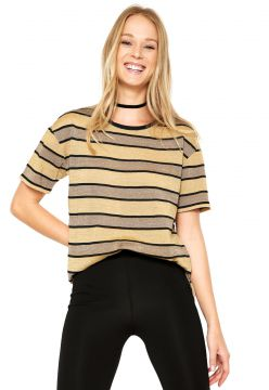 Blusa Animale Tricot Listra Lurex Bege Animale