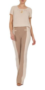 Calça Flare MX Fashion Bicolor Robert Capuccino MX Fashion