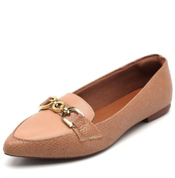 Mocassim DAFITI SHOES Aplique Nude DAFITI SHOES