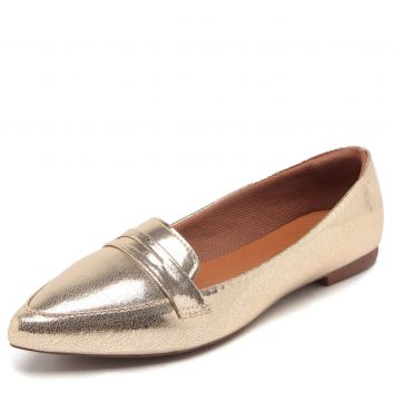 Mocassim DAFITI SHOES Metalizado Dourado DAFITI SHOES