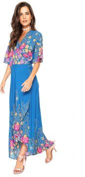 Vestido Lucy in The Sky Midi Estampado Azul Lucy in The Sky