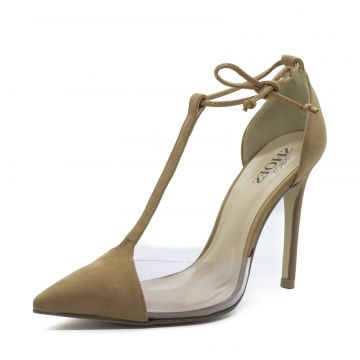 Scarpin Shoes inbox Lace Up detalhe transparente Caramelo S