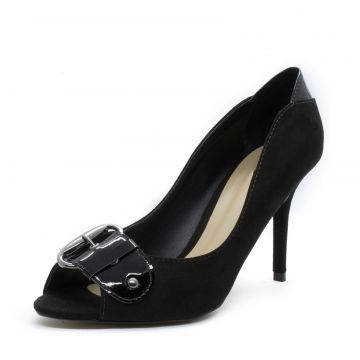 Peep Toe Shoes inbox Buckle Salto Fino Preto Shoes inbox