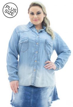 Camisa Jeans Plus Size - Confidencial Extra Bolso Azul Plus