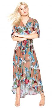 Vestido Lucy in The Sky Midi Estampado Bege Lucy in The Sky