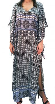 Vestido 101 Resort Wear Kaftan Longo Estampado Cinza 101 Re