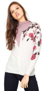 Cardigan Facinelli by MOONCITY Flores Branco Facinelli by M