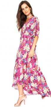 Vestido Lucy in The Sky Midi Estampado Rosa Lucy in The Sky