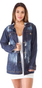 Jaqueta Jeans Degrant Destroyed Oversized Azul Degrant