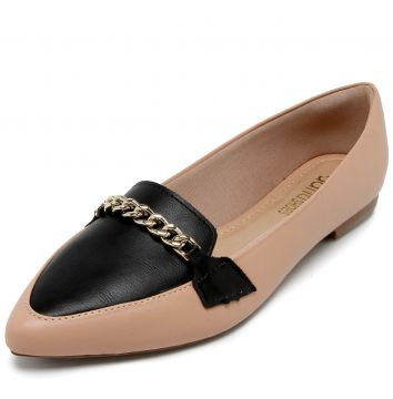 Mocassim DAFITI SHOES Corrente Nude/Preto DAFITI SHOES