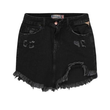 Minissaia Khelf Jeans Black Destroyed Irregular Preto Khelf