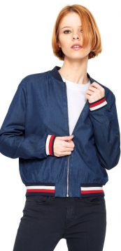 Jaqueta Bomber Jeans Tommy Hilfiger Listras Azul Tommy Hilf