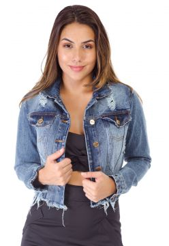 Jaqueta Jeans Degrant Destroyed Cropped Azul Degrant