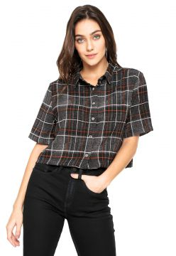 Camisa Cropped Ellus 2ND Floor Bubble Check Preta/Cinza Ell