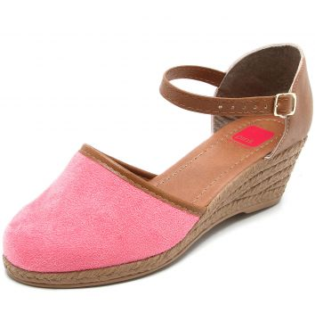 Sandália Espadrille Pink Connection Anabela Rosa Pink Conne