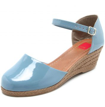 Sandália Espadrille Pink Connection Anabela Azul Pink Conne