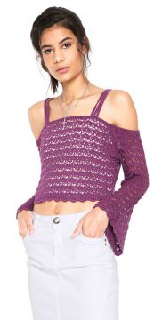 Blusa Ciganinha Cropped My Favorite Thing(s) Tricot Color R