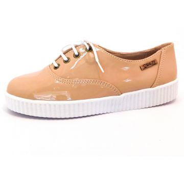 Tênis Creeper Quality Shoes Verniz Nude Sola Branca Quality