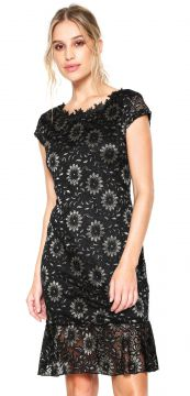Vestido D.DRESS Curto Floral Bicolor Preto/Dourado D.DRESS
