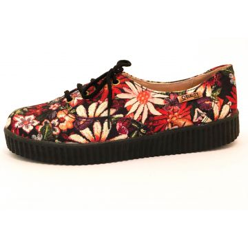 Tênis Creeper Quality Shoes Floral Sola Preta Quality Shoes