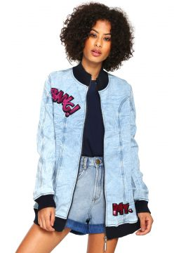 Jaqueta Jeans Bomber My Favorite Thing(s) Bang Azul My Favo
