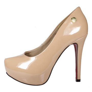 Scarpin Week shoes Salto Alto Meia-Pata Envernizado Nude We