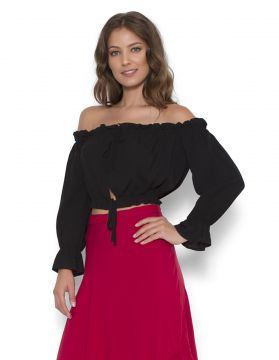 Blusa Cropped Lucy In The Sky Ciganinha Preta Lucy in The S
