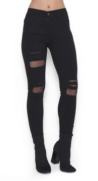 Calça Skinny Lucy in The Sky com Arrastão Preto Lucy in The