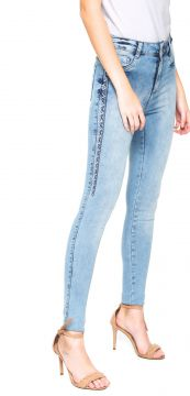 Calça Jeans Local Skinny Bordada Azul Local