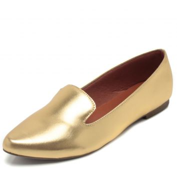 Mocassim DAFITI SHOES Bico Fino Dourado DAFITI SHOES