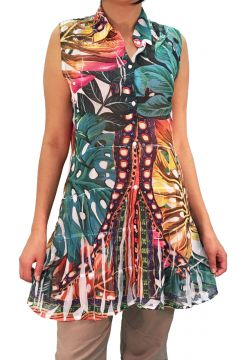 Vestido Chemise 101 Resort Wear Estampado Multicolorido Lar