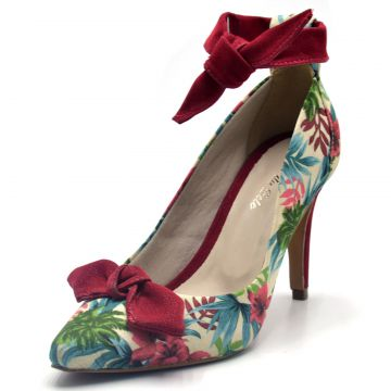 Scarpin Indian Line Bico Fino Floral Bege Indian Line