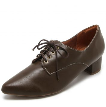 Oxford DAFITI SHOES Salto Grosso Marrom DAFITI SHOES