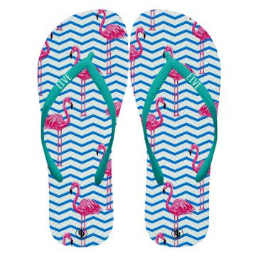 Chinelo Live Chinelos Flamingo lovers Azul Live Chinelos