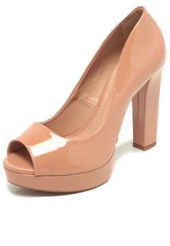 Peep Toe DAFITI SHOES Salto Grosso Nude DAFITI SHOES