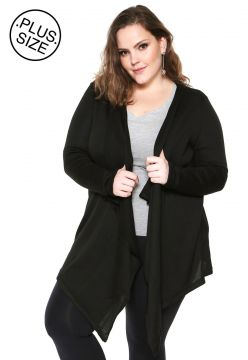 Cardigan WEE! Tricot Assimétrico Plus Size Preto WEE!