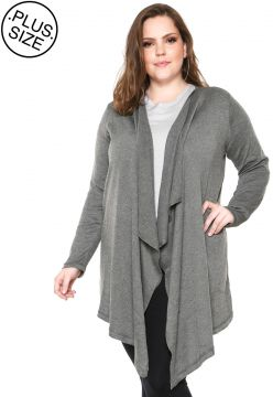 Cardigan WEE! Tricot Color Plus Size Cinza WEE!